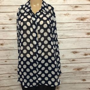 Navy and white polkadotted long sleeve